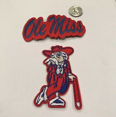 """f7a21fd2 (2)-Ole Miss Rebels Vintage Embroidered Iron On Patches 4"""" X 2"""