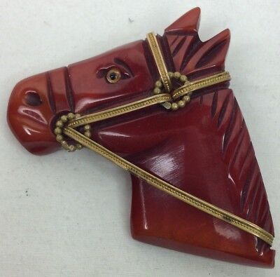 Rare Bakelite Red Flash Mint Condition Horse Head Pin 1930/40s (C402)](Cheap Horse Costume)