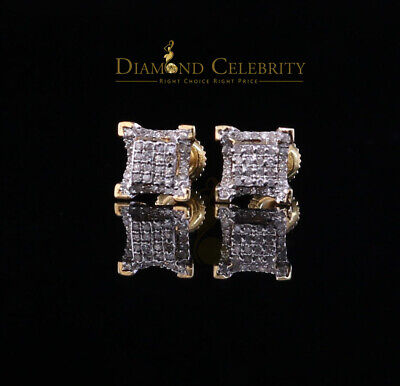 10K Real Yellow Gold Real Diamond 0.20CT Men's/Women's Stud Micro Earring