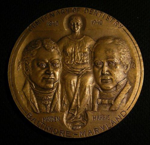 "1940 3"" MEDALLIC ART CENTENARY OF DENTISTRY BRONZE MEDAL - BALTIMORE MD"