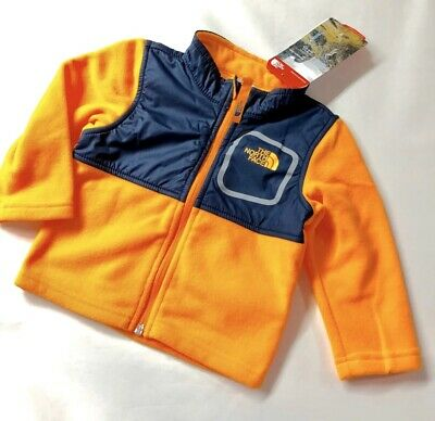 North Face Baby Infant Glacier Track Fleece 6-12 Months Koi Orange Navy Blue NWT North Face Glacier Track