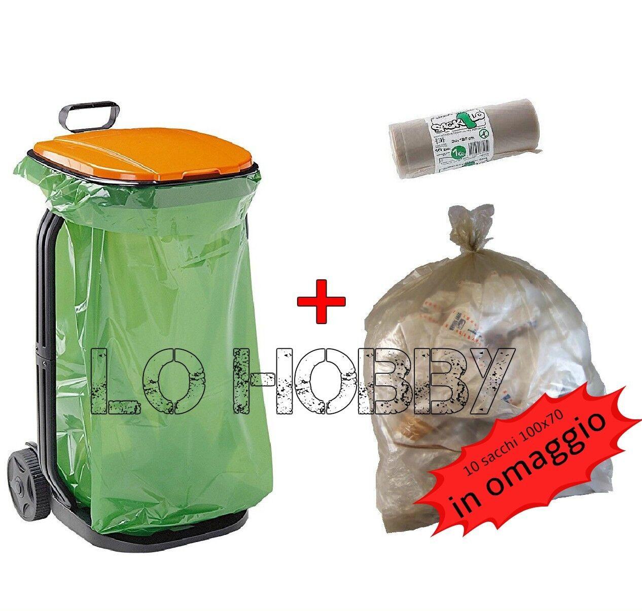 Carrello raccoglitore GF da giardino porta rifiuti per sacco pattumiera trespolo