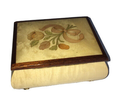 """MUSIC BOX Floral Wood Inlay """"That's What Friends Are For"""" ITALY Friendship Gift"""