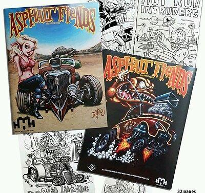 Asphalt Fiends Coloring Book 2011 Rat fink hot rod art monster tattoo rockabilly