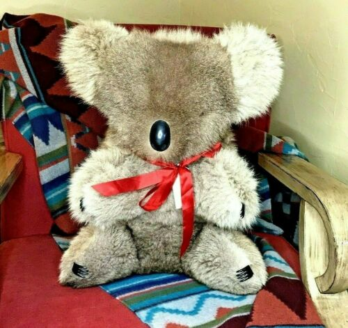 "Vintage Qantus Real Fur Koala Very Large 18"" Tall 13"" Wide Australia Super SOFT"