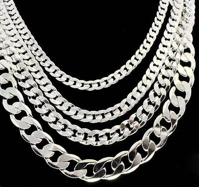 Mens Silver Tone Miami Cuban Link Chain 6mm-12mm Necklace 20