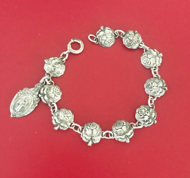 Antique vintage Creed sterling creed rosary roses religious bracelet
