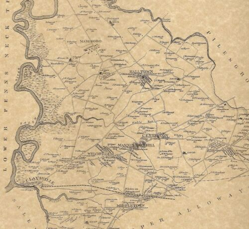 Mannington Pointers Marshalltown  NJ 1876 Maps with Homeowners Names Shown