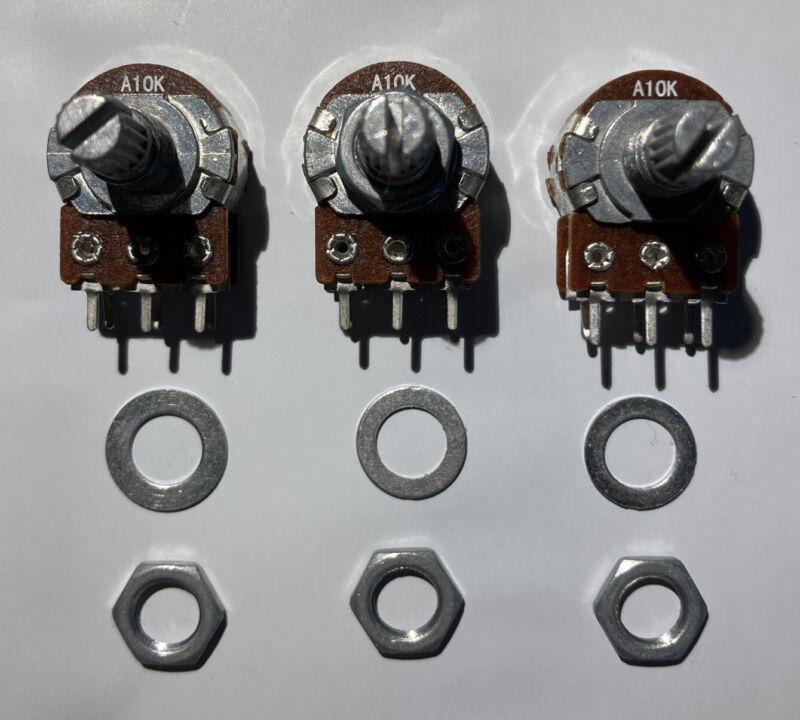 3pcs 10kOhm Audio Taper Logarithmic Dual Gang Stereo Potentiometer A10k US Ship
