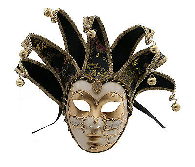 Mask from Venice Volto Jolly Black and Golden 7 Spikes Symphony 417 VG4