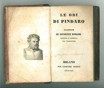 PINDARO LE ODI TRADUZIONE GIUSEPPE BORGHI INNI DI CALLIMACO GASPARE TRUFFI 1831