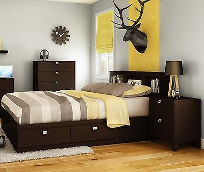 3 Piece Brown Full Size 4 Storage Drawers Platform Bed Set Bookcase - Double Bookcase Headboard Beds