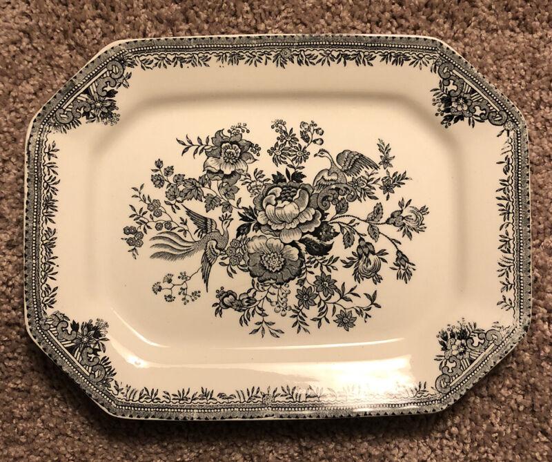 Burleigh Black White Asiatic Pheasants Platter