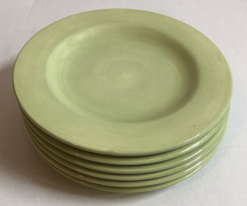 """Set Of 6 HausenWare Lime Green Dinner Plates 11 1/2"""""""