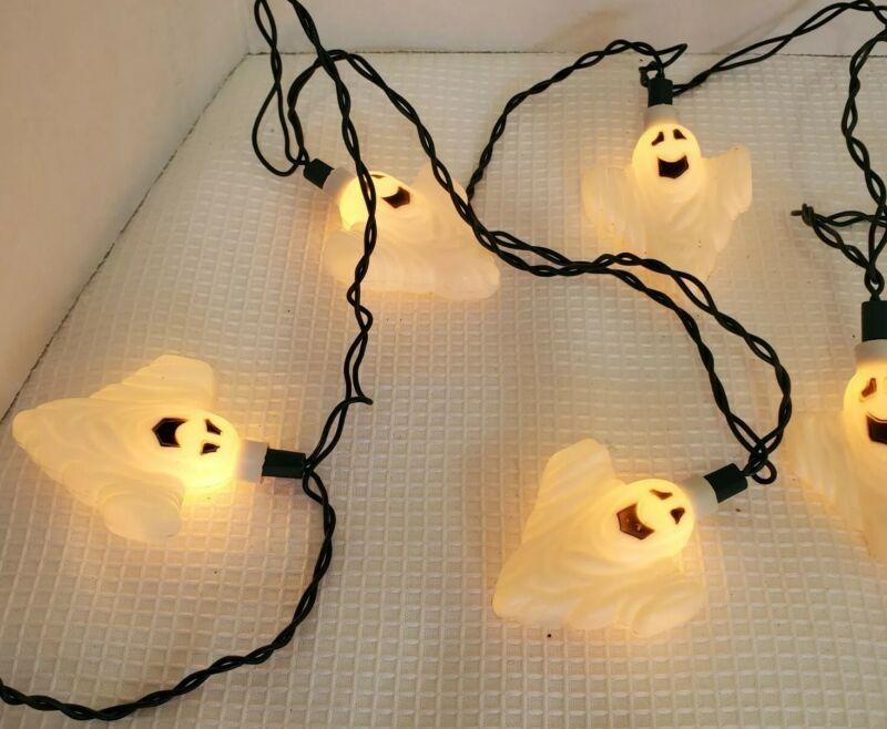 Vintage 2 Strings Lights Halloween Ghost hard plastic party 10 figures per 10ft