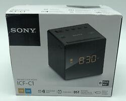 Sony ICF-C1 AM/FM Alarm Clock Radio ICFC1 Black Cube Tested Works Free Shipping