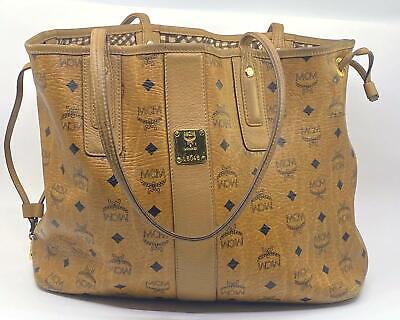 MCM Liz Reversible Medium Tote Cognac Brown Shopper Shoulder Bag