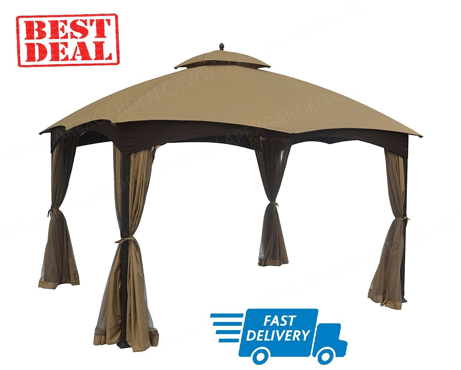 APEX GARDEN Replacement Canopy Top for Lowes Allen Roth 10X12 Gazebo #GF-12S004B-1 and Curtain Set Bundle