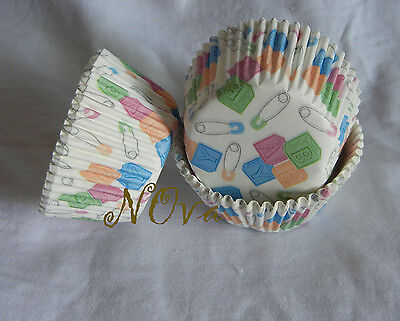 50 Lovely baby shower white cupcake liners baking paper cup muffin case](Baby Shower Cupcake Papers)