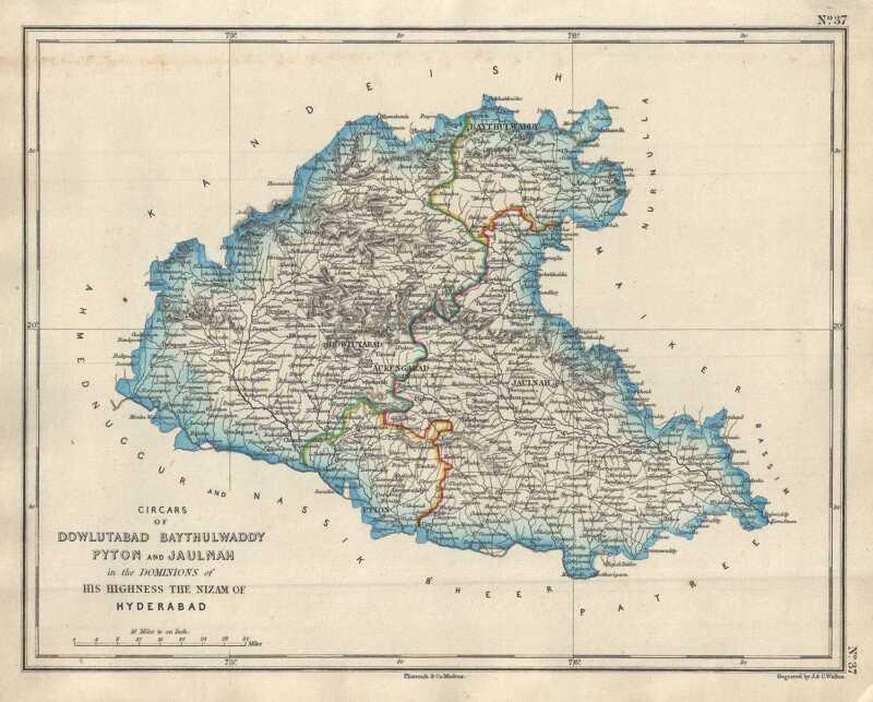 1854 Pharoah Map of Aurangabad and Jalna Districts in Maharashtra, India