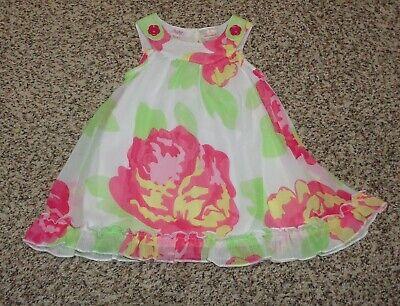 Baby Beri Baby Girls Floral Dress Sheer Overlay Sleeveless 6-9 Months EUC