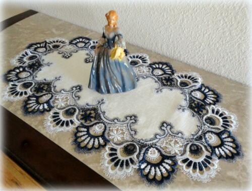 "Doily Delicate Trim BLUEBERRY BLUE Lace Table Runner 27""x14""  Navy Dresser Scarf"