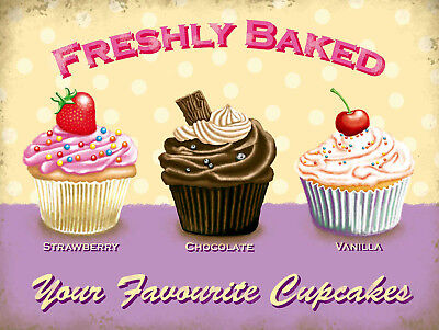 Freshly Baked Cupcakes, Retro metal Sign vintage, Kitchen, Cafe, Gift