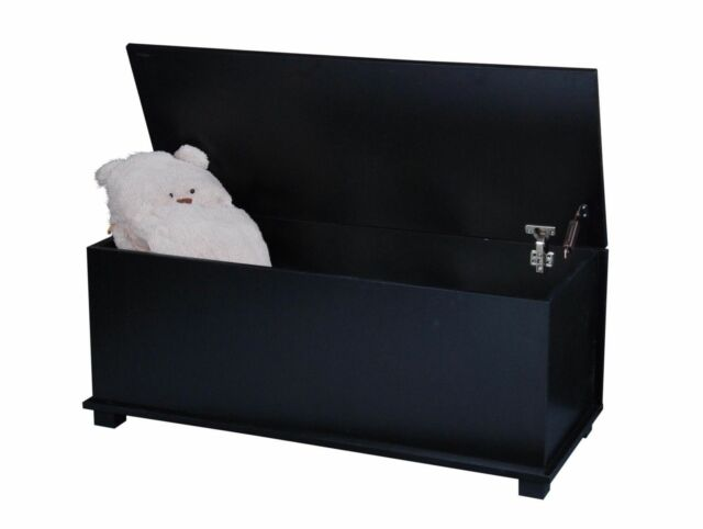 Large Black Wooden Ottoman Storage Toy Box Chest Trunk with Hinged Lid - Wooden Ottoman Large Black Storage Toy Footstool Chest With Lid