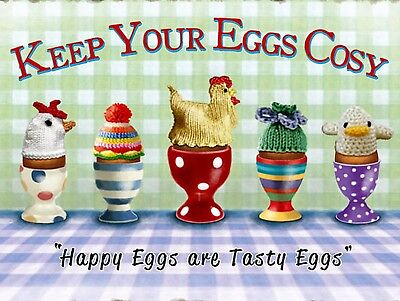 Keep Your Eggs Cosy, Retro metal Sign/Plaque Wall vintage / Kitchen Gift