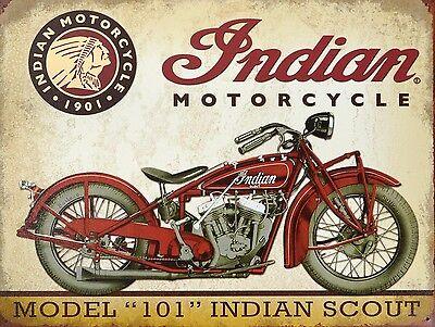 INDIAN MOTORCYCLE 101, Retro metal vintage style Sign/Plaque Nostalgic Gift