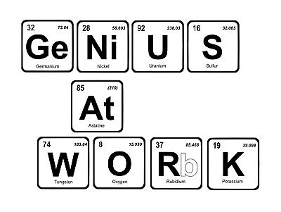 Genius At work, Retro metal vintage style Sign Novelty Gift