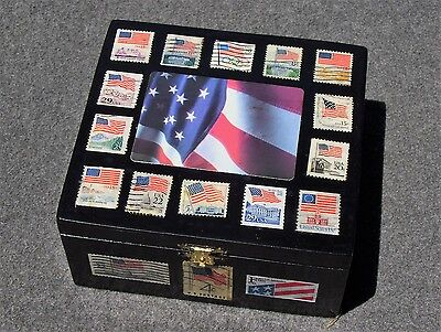 U.S. Flag Stamp Wooden Decoupage Box