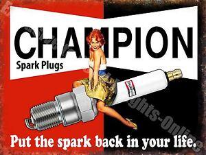 Vintage Garage, Champion Spark Plugs, Funny Pin-up Girl Car Large Metal/Tin Sign
