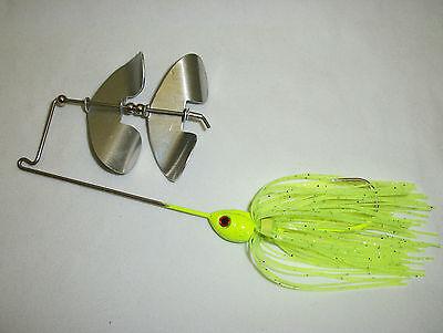 Buzz Bait 3/8oz Chartreuse Green W/silver Glitter W/countering Aluminum Blades