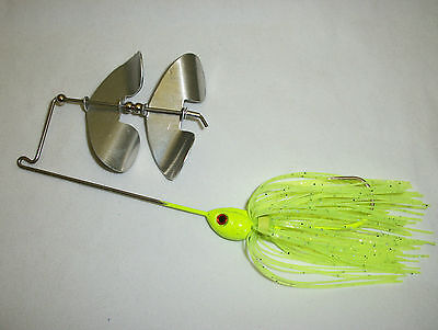 Buzz Bait 3/8oz Chartreuse Green W/silver Glitter W/countering Aluminum Blades