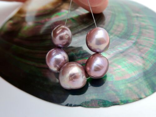 RARE 5pc XL AA+ FRESHWATER EDISON HIGH GRADE CULTURED PEARLS - RICH COLORS