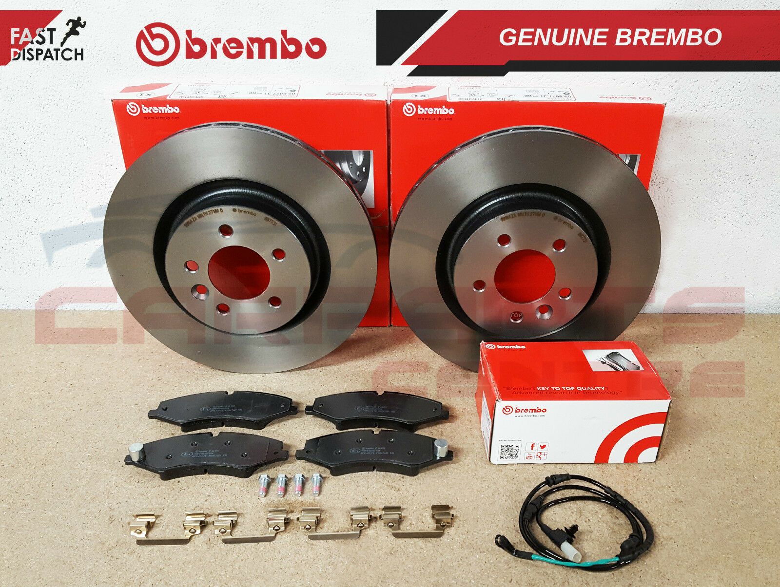 FOR RANGE ROVER SPORT LAND ROVER DISCOVER 4 FRONT BREMBO BRAKE PADS WIRE SENSOR