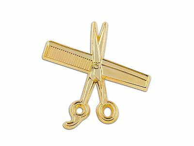 High Quality MD Barber Hand Made Shear & Comb Lapel Pin (Gold)