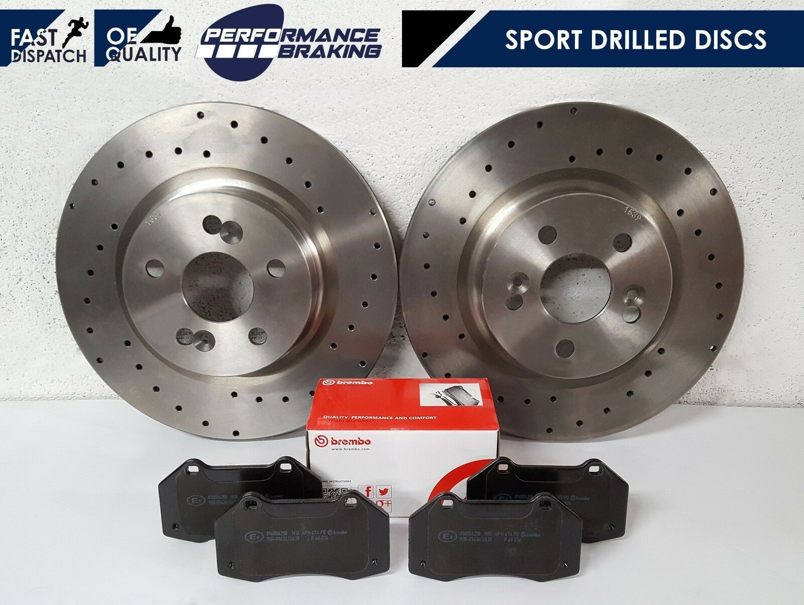 RENAULT CLIO SPORT 172 182 BRAKE DISC BRAKE PADS BREMBO DRILLED GROOVED  FRONT
