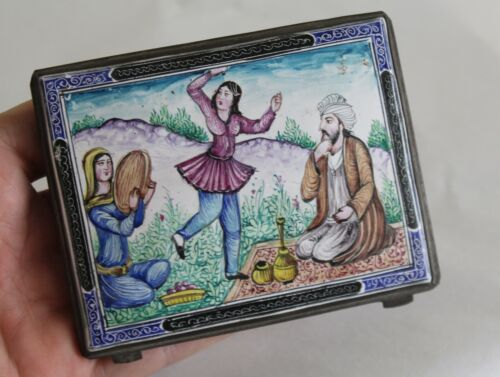 Estate Old Persian Hand-Painted Enamel Exquisite Fine Cigarette Case Compact