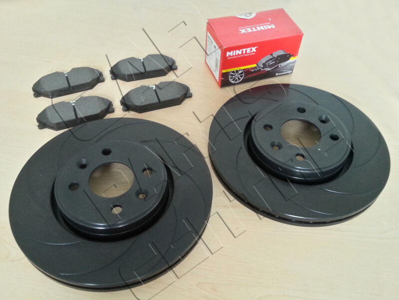FOR CLIO SPORT 172 182 FRONT BLACK 12 GROOVED PERFORMANCE BRAKE DISCS MINTEX PAD
