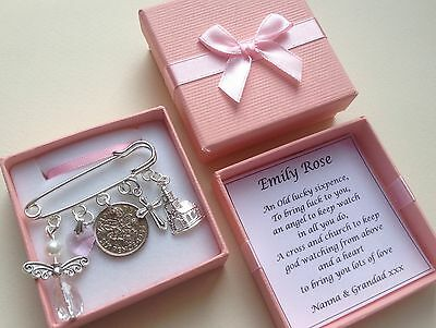 LUCKY SIXPENCE CHRISTENING, BAPTISM GIRL/BOY Kilt Pin Charm PERSONALISED IN BOX