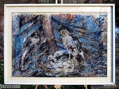 excellentes Bild von Anton Woelki 1908-1986 Greifvögel wertvolle Künstlerarbeit