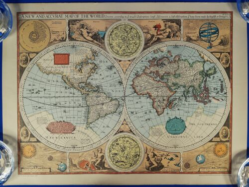 Vintage A New and Accvrat Map the World by John Speed 1627