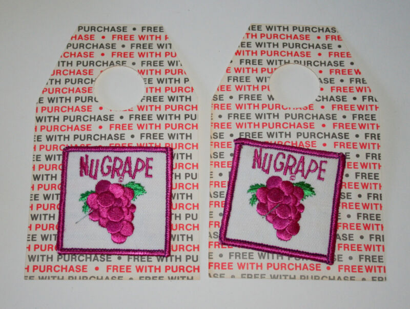 2 Rare 1970s Nu Grape NuGrape Soda Beverage On Hanging Card Cloth Patch New NOS