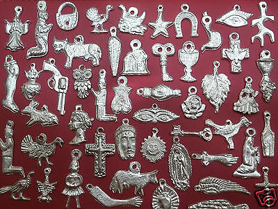 100 SILVER Tone Mexican Folk Art Milagros Exvoto Nicho Retablo Charms