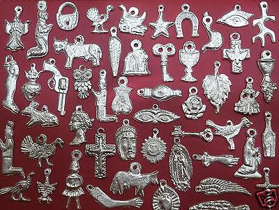 100 SILVER Assorted Mexican Folk Art Milagros Exvoto Nicho R