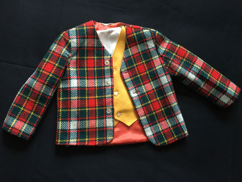 Vintage 50's- 60's Jack And Jill Togs Christmas Plaid Jacket & Vest Set, 4T