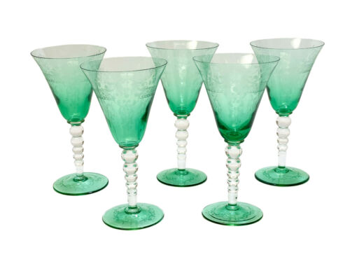 5 Venetian Emerald Green Acid Etched Water Glass Goblets, circa 1950