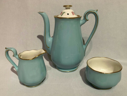 Hall China #2 BLUE BELL COFFEE POT, CREAMER & SUGAR (502TV)